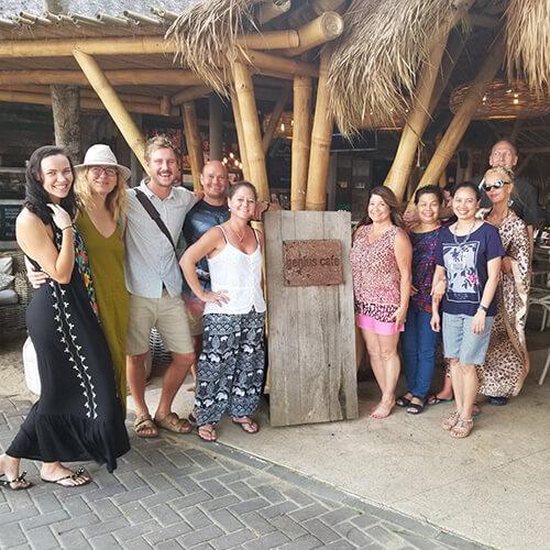 Shot of Rose Tafoya posing with team on a bonding trip
